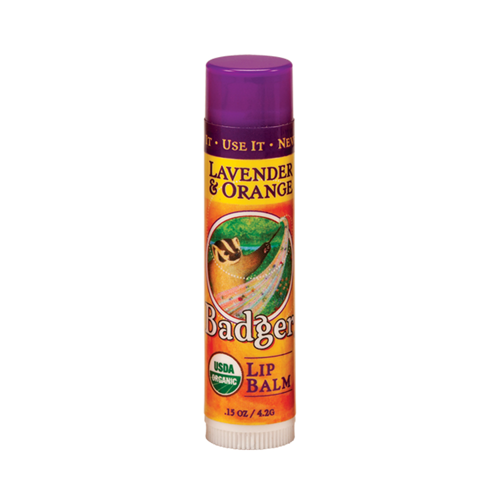 Badger Lavender and Orange Lip Balm Stick