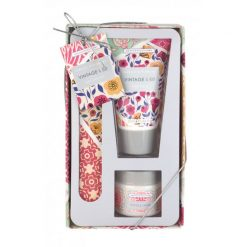 Heathcote & Ivory Vintage & Co. Fabric & Flowers Nail Care Set (50ml Hand Cream, Emery Board, 38ml Cuticle Cream)