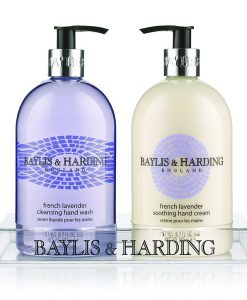 Baylis & Harding French Lavender 2 Bottle Set in a Clear Acrylic Rack
