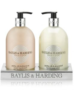 Baylis & Harding Jojoba Silk Almond Oil 2 Bottle Set in Acrylic Rack