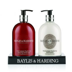 Baylis & Harding Men's Black Pepper & Ginseng 2 Bottle Set in a Black Acrylic Rack