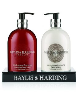Baylis & Harding Men Black Pepper & Ginseng 2 Bottle in Black Acrylic Rack