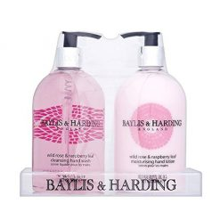 Baylis & Harding Wild Rose & Raspberry Leaf 2 Bottle Gift Set in Clear Acrylic Rack