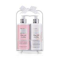 Baylis & Harding Linen Rose & Cotton 2 Bottle Set in a Rack