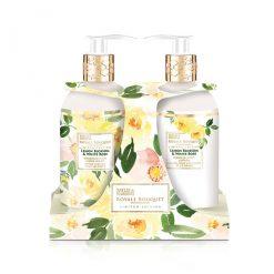 Baylis & Harding Royale Bouquet Lemon Blossom & White Rose 2 Bottle Set in Rack