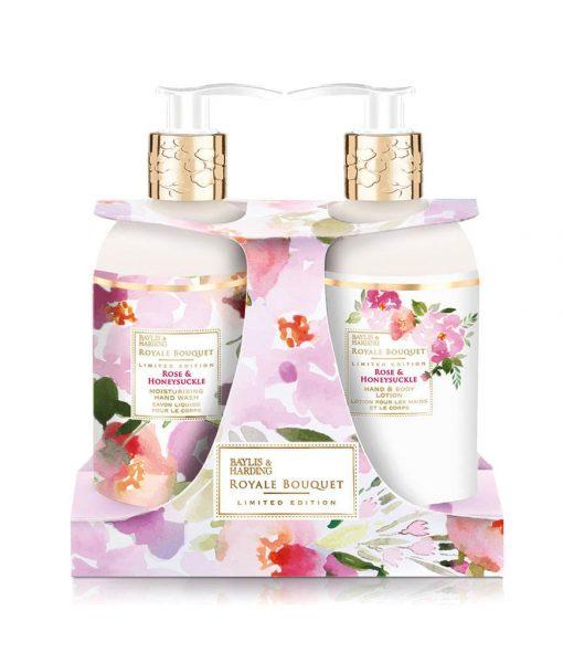 Baylis & Harding Royale Bouquet Rose & Honeysuckle 2 Bottle Set in Rack
