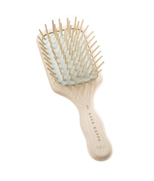 Acca Kappa Beech Wood Paddle Brush With Wooden Pins - Travel Size