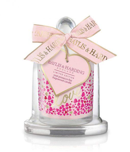 Rose Prosecco Fizz Single Wick Candle with Cloche
