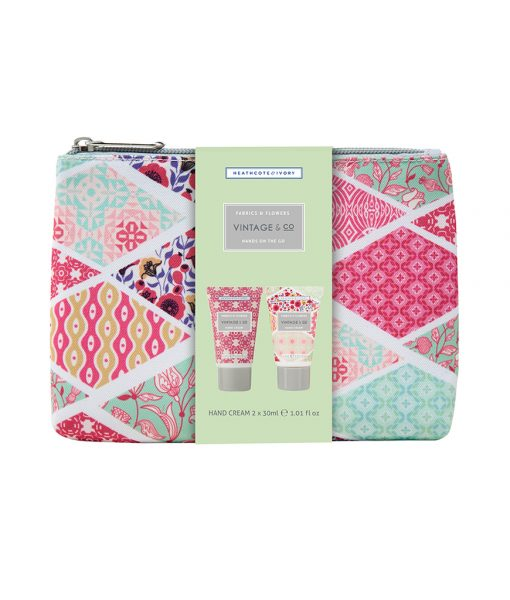 Vintage Co. Fabric & Flowers Hand on the Go Cosmetic Bag (2x30ml Hand Cream)
