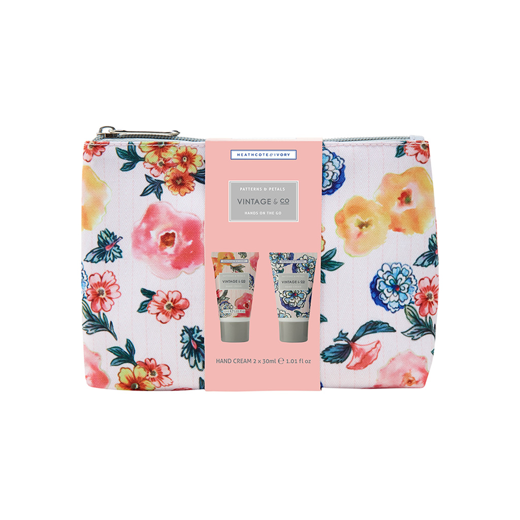 Vintage Co. Patterns & Petals Hand on the Go Cosmetic Bag (2x30ml Hand Cream)